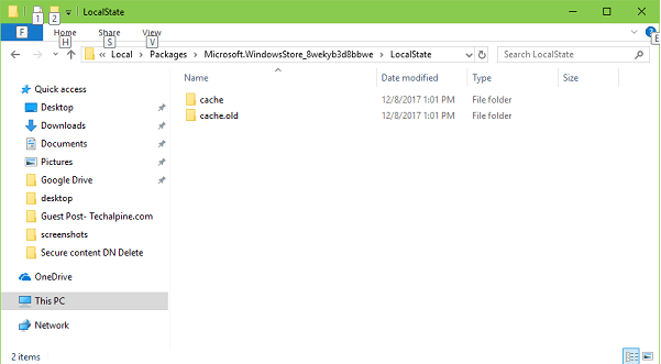 localstate folder in windows 10