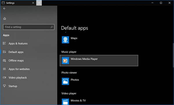 make window media player default app