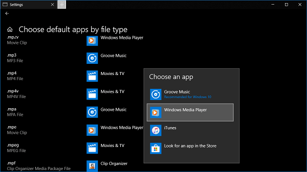 change groove music app as default music player in windows 10