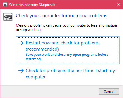 windows memory diagnostic window