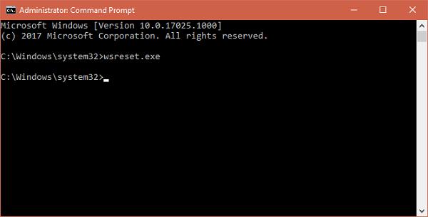 run wsreset.com command in windows 10