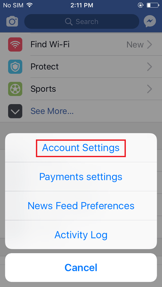 facebook app account setting in iphone