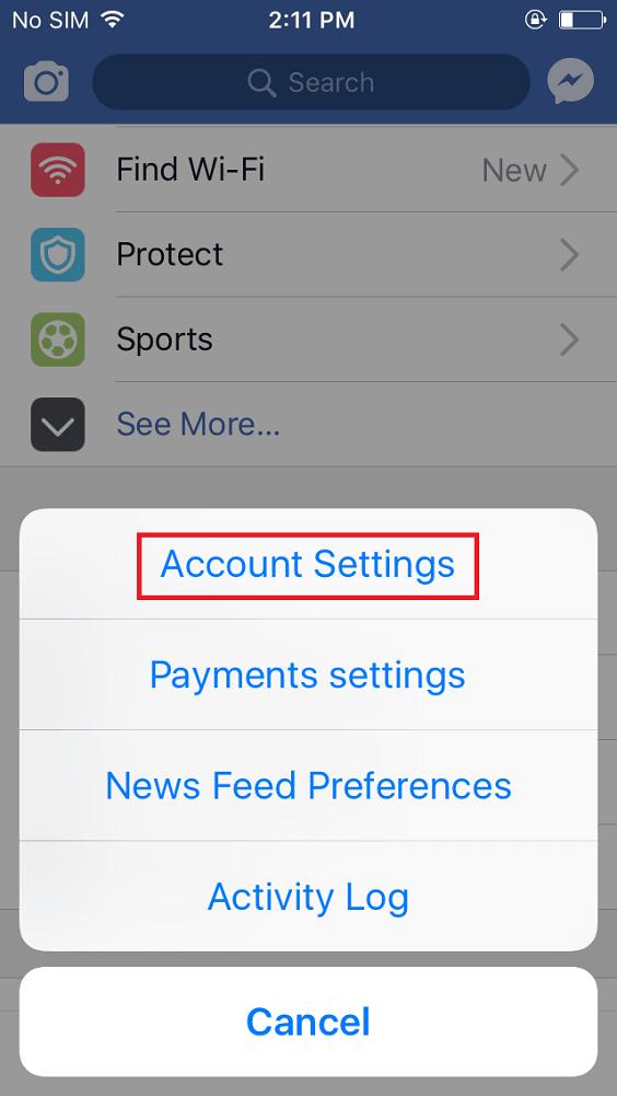 facebook app account setting in iphone