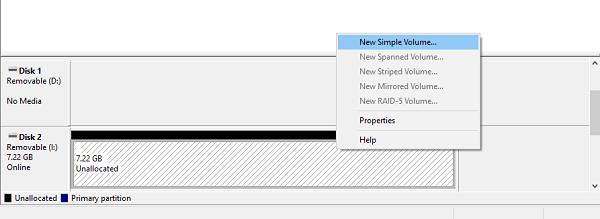 create new simple volume