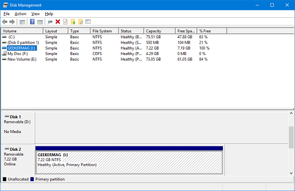 disk management tool in windows 10