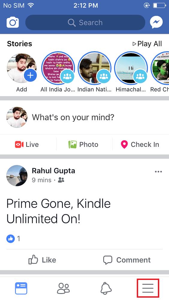 facebook app more icon in iphone