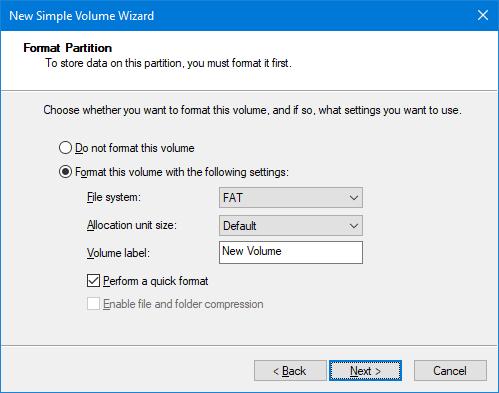 format partition disk management tool