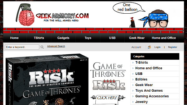 Geek Armory - sites like thinkgeek