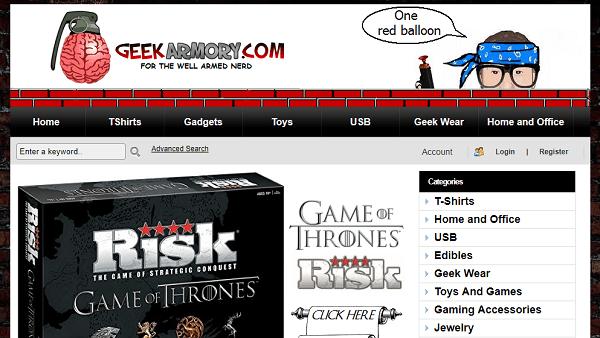 Geek Armory - sites like thinkgeek
