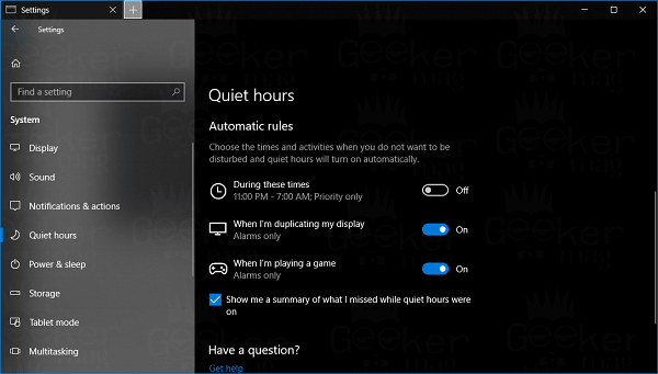 quiet hours automatic rules in windows 10