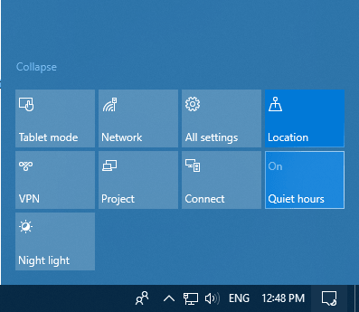 enable quiet hours using Action Center in Windows 10