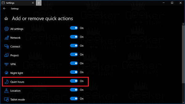 add quiet hours quick action in windows 10