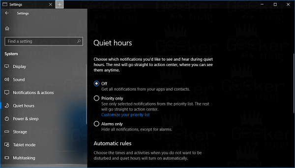 Windows 10 quiet hours settings