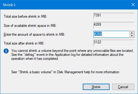 shrink volume dialogue box in windows 10