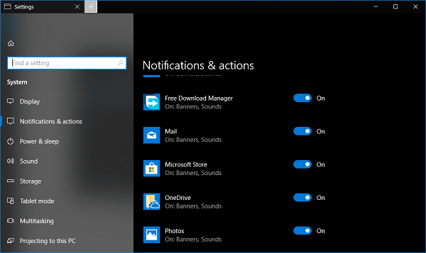 enable quiet hours for apps in windows 10