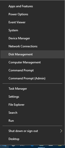 open disk management from WINX menu in windows 10