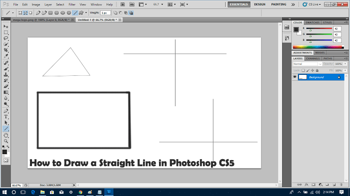 How to Draw a Straight Line in Photoshop CS5