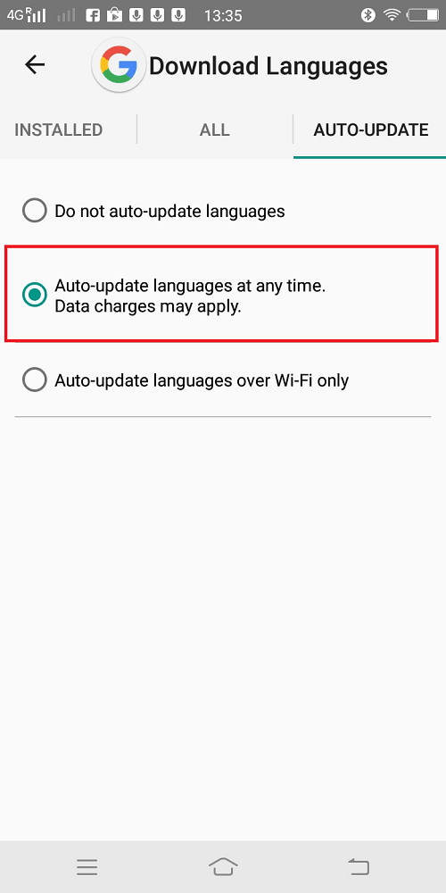 Auto-update languages at any time. Data charges may apply.