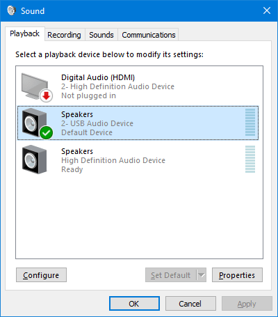 playback devices in sounds settings