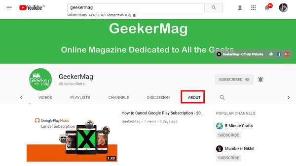 Geekermag youtube channel about section