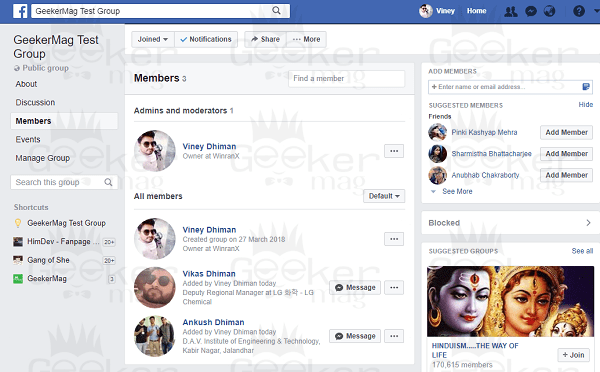 facebook group admin and member