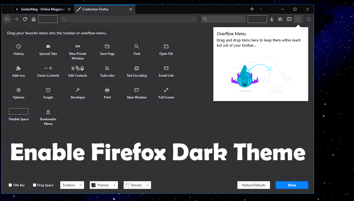 how to enable firefox dark theme