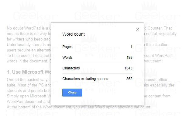 wordpad word count using google doc