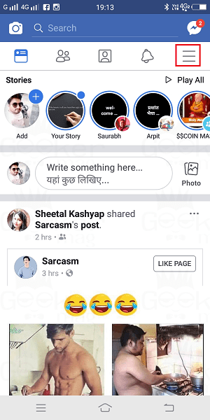 facebook app homescreen