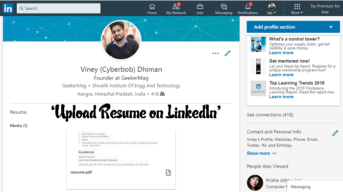 how to upload resume on linkedin - 2019