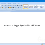 insert angle symbol in word
