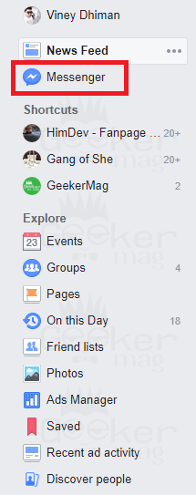 messenger icon on facebook timeline
