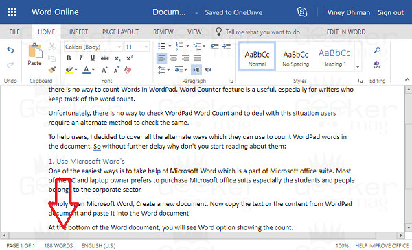 wordpad word count using word online