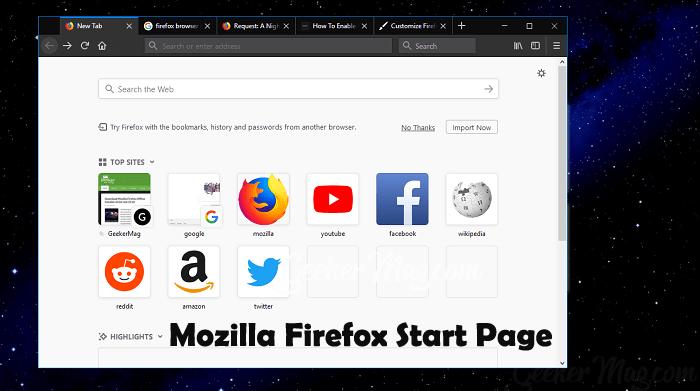 mozilla firefox start page