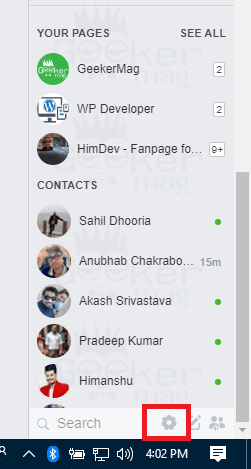 options in facebook chat section