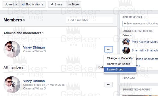 remove admin from facebook group