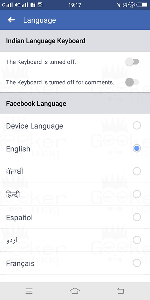 select facebook languages
