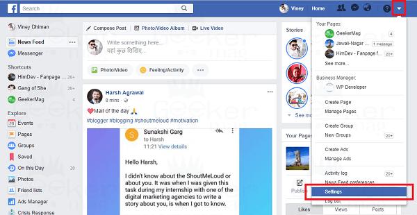 facebook settings