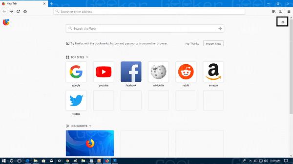 mozilla firefox start page settings
