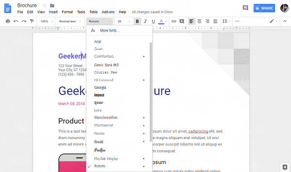 text formatting in google docs