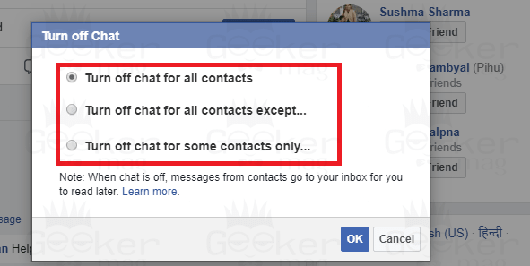 turn off chat for all contacts