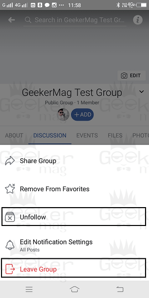 unfollow and delete group