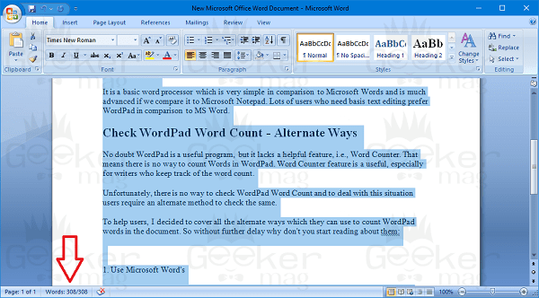 wordpad word count using ms word