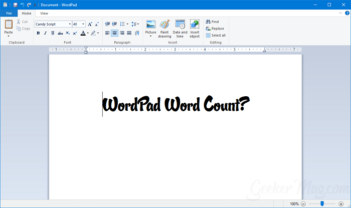How to check wordpad word count