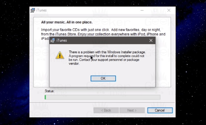 iTunes - There is a Problem with this Windows Installer Package