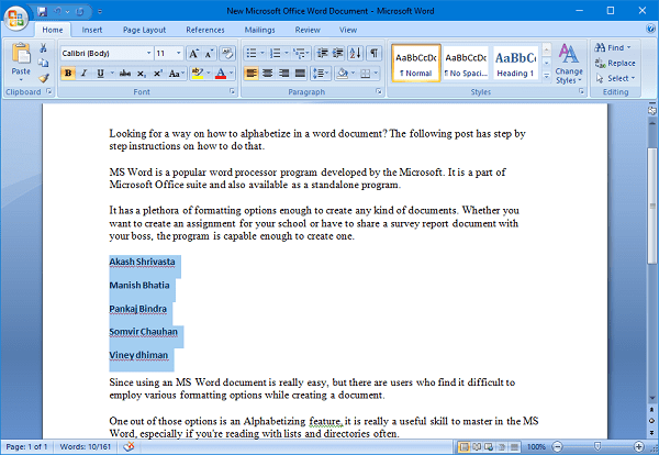 alphabetizing done in word document