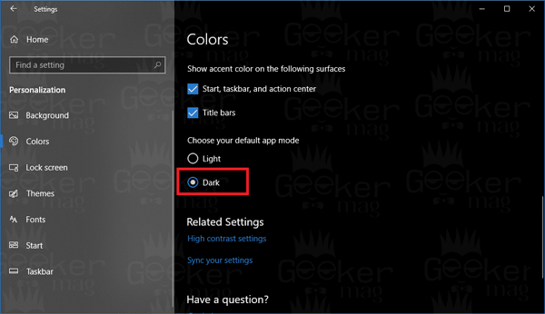 choose your default app mode in windows 10