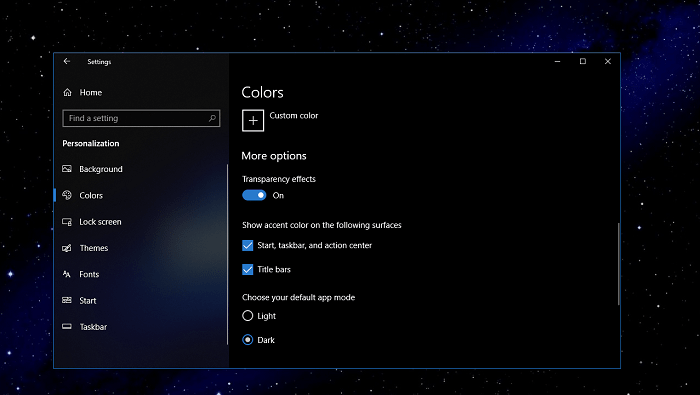 how to enable windows 10 dark theme
