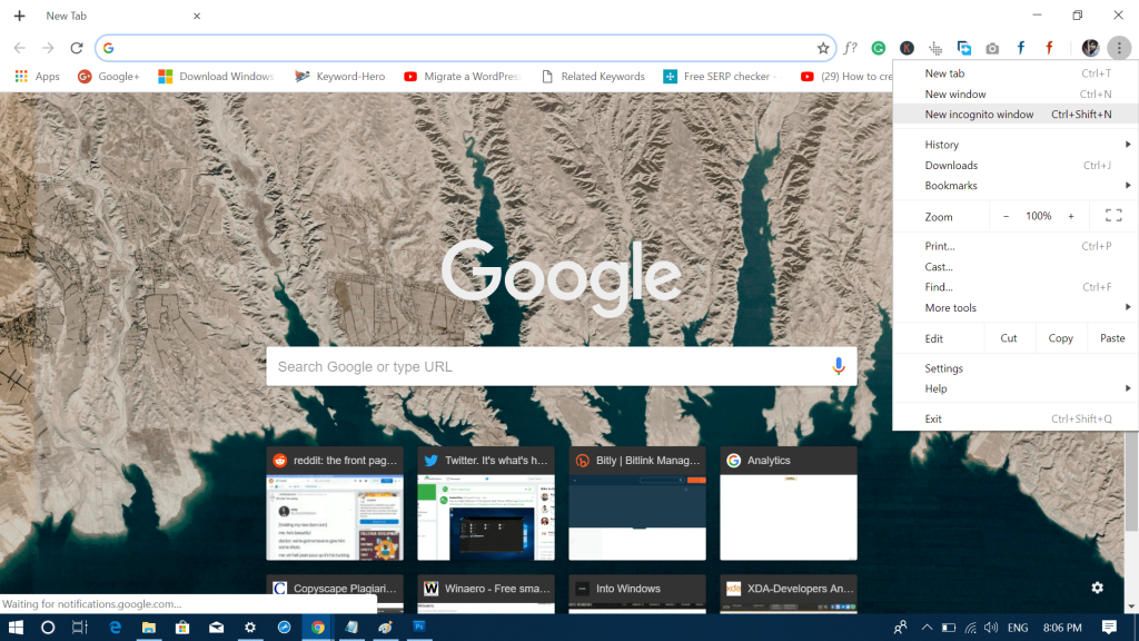 new incognito window chrome