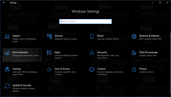 personalization settings in windows 10