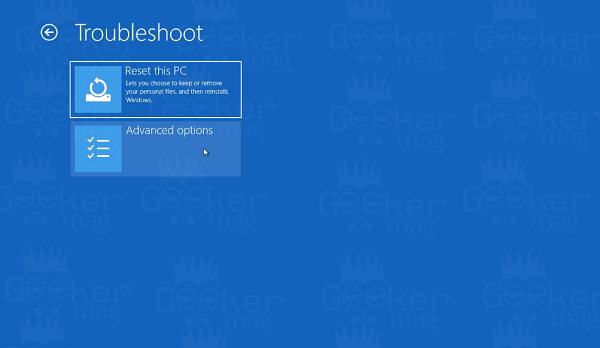 reset this pc using advanced startup options menu